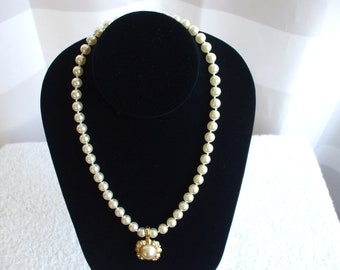Roman Faux Pearls Pendant Necklace - Signed - Gold Tone - Rhinestone  -  Pearl Cabochon - Wedding - Party - Gifts