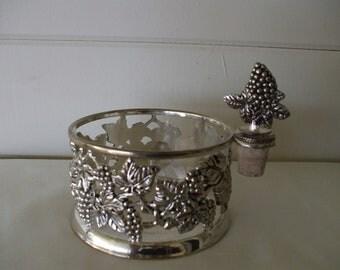 Silver Plate  Bottle Holder and Bottle Stopper, , Grapes, Vine  Design.  Wine, Champagne, Barware, Liquer,