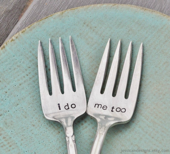 I Do. Me Too. Vintage Wedding Cake Fork Set Personalized With
