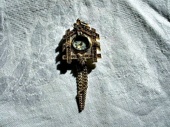 Goldtone Cuckoo Clock Brooch
