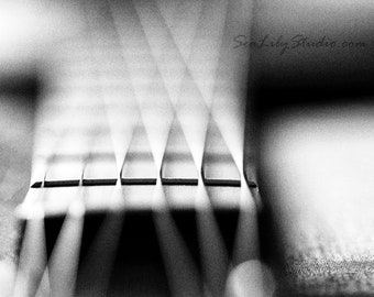 Acoustic Frets : abstract guitar photo black white macro photography monochrome surreal bokeh music home decor 8x10 11x14 16x20 20x24 24x30