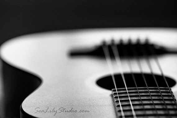 Acoustic Guitar Abstract Photo Black White Macro Photography