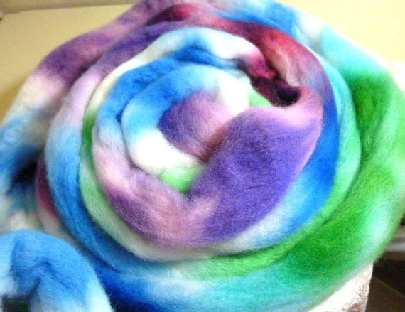 RESERVED for Alynn  handdyed wool roving top 8.7 oz.