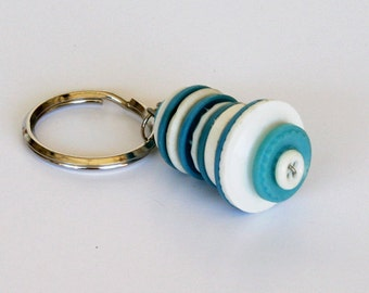 Vintage Button Keyring or Keychain