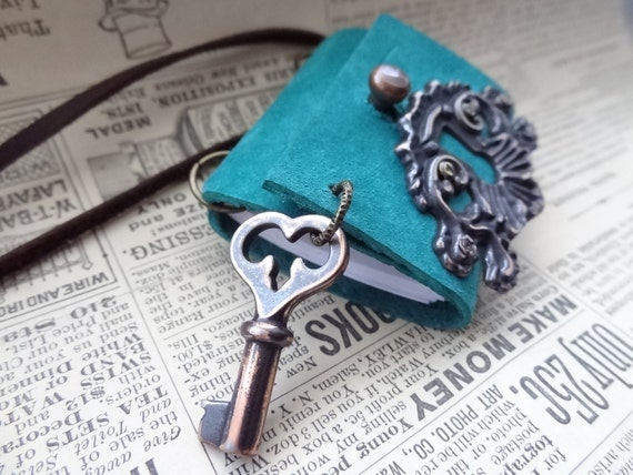 FREE SHIPPING teal suede steampunk lock and key leather journal unisex necklace OOAK