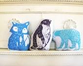 Arctic Animal Pillow Set. Hand Woodblock Printed. Save 20 Percent.