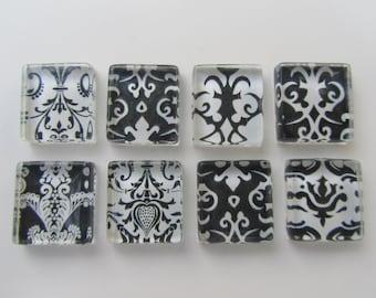 Damask Fridge Magnets - Fun  Mix Refrigerator Magnets Set of 8
