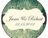 Emerald Green & Grey Personalized Wedding Favor -4 oz Soy Wax Candle Jar