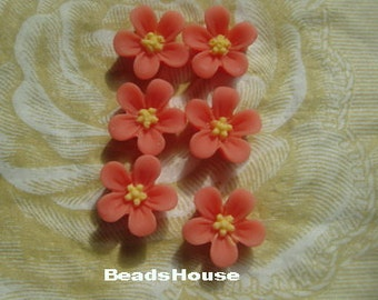 650-00-CA  8pcs Beautiful Resin Flower Cabochon - Melon with Yellow