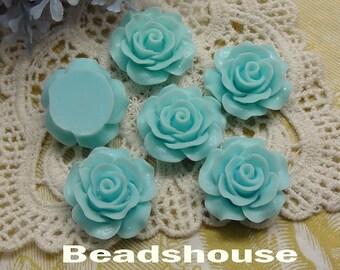 6pcs (20mm) Beautiful Roses Cabochon-Sky Blue (696-00-CA)