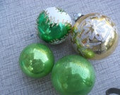 Vintage Christmas ornament, set of 4, light green and Gold