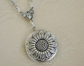Small Silver Sunflower Locket Necklace Daughter Wedding Bride Bridesmaid Birthday Gift Anniversary Wife Mother Sister Photo Picture - Camryn