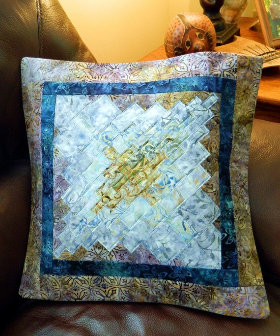Quilted Batik Accent Pillow Cover/Table topper