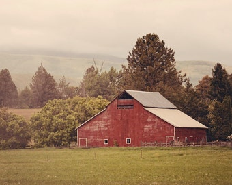 Red Barn Photograph, Country Cute Art, Farm Photography