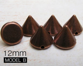 100pcs 12mm antique COPPER Acrylic Cone Spikes Beads Charms Pendants with hole