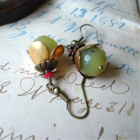 New Jade and Coral Earrings C 2-7/57