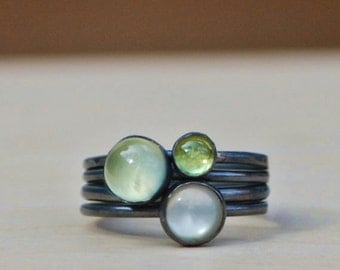 Winter to Spring Stack Ring set with mother of pearl, prehnite, & peridot