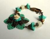 Butterfly Flower Bracelet,Filigree Collage Bracelet,Tulip Jewelry