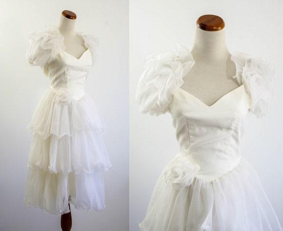 Vintage Wedding Dress Tea Length Wedding Dress