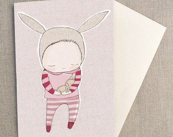 "New Born Baby Card - Baby Bunny Cuddles  - C6 greeting card 11w x 15.5 h cm (4.4x6.1"")."