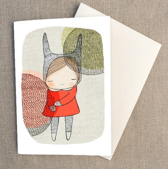 """Childrens Greeting Card - Bunny Girl with Circles- C6 greeting card 11w x 15.5 h cm (4.4x6.1"""")."""