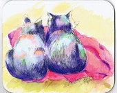 Purple Cats Red Blanket Mousepad