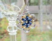 Royal Blue and Gold Japanese Flower Chain Mail Pendant, Chainmaille Jewelry