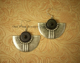 Rodeo Cowgirl Southwest Style Black Howlite Turquoise and Crystal Earrings