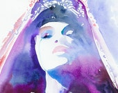"""Print of Watercolor Painting, Print Fashion Illustration 13"""" x 19"""". Titled - Purpleink"""
