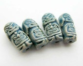 4 Tiny Raku Tiki God Beads - 2 Face - CB841