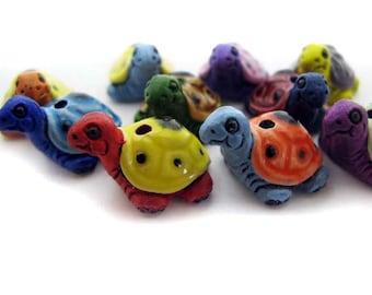 10 Large Ceramic Beads - Mixed Turtle - LG615