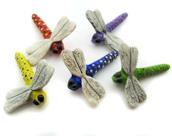 10 Large Dragonfly Beads - mixed - LG183M