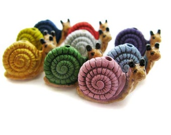 4 Large Snail Beads