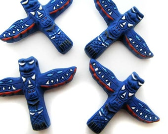 10 Large Blue Totem Pole Beads