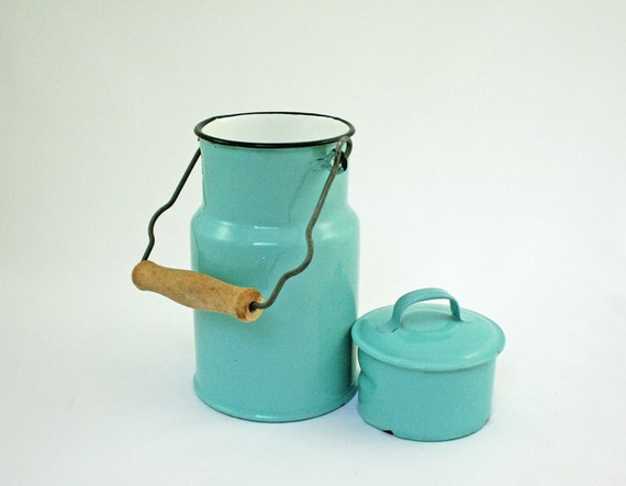 RESERVED for Jen C......Vintage Aqua and White Lunch Pail, Enamel Lunchbox, Made in Poland