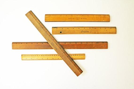PRICE REDUCED...Vintage Wood Rulers  -  School Supplies  -  Vintage Back To School