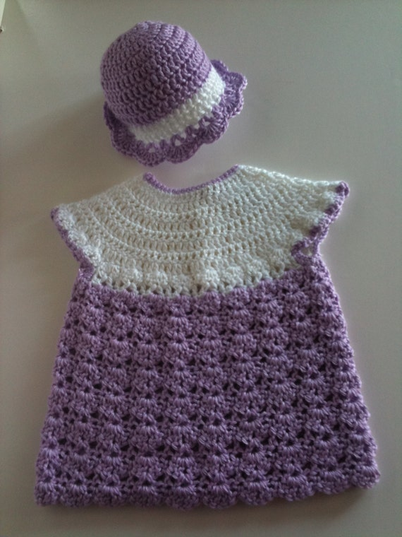 Crochet Baby Dress Hat Set Lavender and White