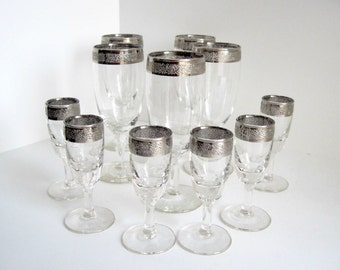 Silver Rim Glasses, Wine and Cordial