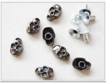 50 sets 12mm  Skull rivets  gunmetal