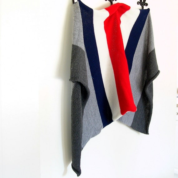 Gray White Red Navy Wide Race Stripes Knitted Blanket
