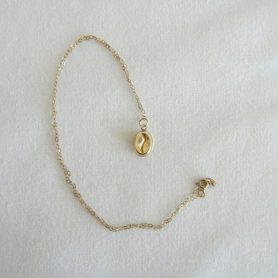 vintage gold coffee bean necklace 9 karat yellow gold by addy