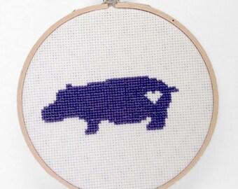 Cross Stitch Wall Art - Hippo 001