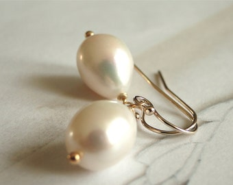 Jewelry, Earrings, Wedding Earrings Bridal Anniversary Gift Luxe Pearl 14k Gold Hoops, Pearls Classic Accessories, Gift for Her, Gift Box