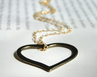 14k Gold Filled Jewelry, Love Love Me Do Heart Necklace, Gift for Her, Heart Necklace Love Accessories, Gift Box