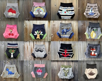 CUSTOM / Made To Order Upcycled Wool Soaker Cover Diaper Cover  With Added Doubler CUSTOM SOAKER Pick Your Size Color Applique