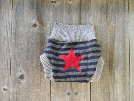 Upcycled Wool Soaker Cover Diaper Cover With Added Doubler Gray/Navy Blue Stripes With Star  Applique SMALL 3-6M Kidsgogreen