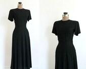 vintage 1940s dress 40s black rayon short sleeve swing dress with soutache ribbon work / serpentine