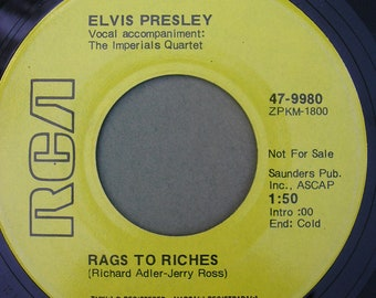 "Vintage Elvis Presley 45 Vinyl Record - ""Rags To Riches"" and ""Where Did They Go, Lord"" 1970s Elvis Collectible"