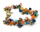 Peacock Bracelet Antique Gold Swarovski Aqua Green Blue Golden Orange Crystal Cluster Charm Bracelet