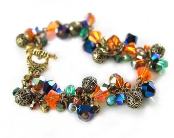 Vintage Style Peacock Bracelet, Swarovski Crystal Bohemian Glass Colorful Bracelet, Green Blue Golden Orange Crystal Cluster Charm Bracelet